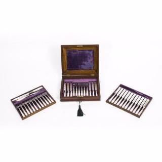 Antique Walnut Cased Set18 Mother Pearl Dessert Knives Forks