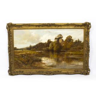 Antique Oil Painting Caversham Church John Horace Hooper