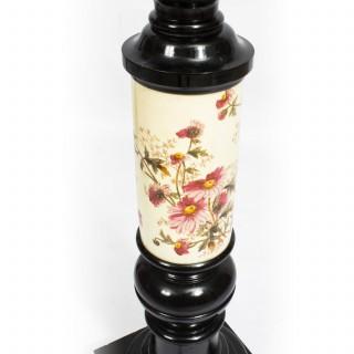 Antique Pair Large Ebonised and Porcelain Pedestals C1880