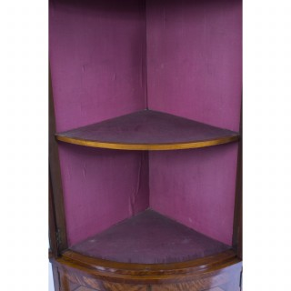 Antique English Edwardian Satinwood Corner Display Cabinet c.1890