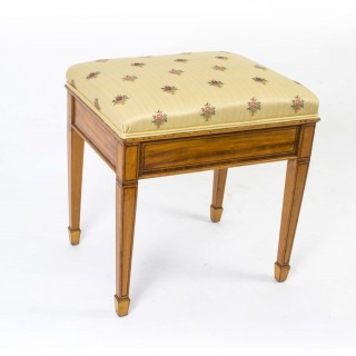 Antique Edwardian Inlaid Satinwood Stool c.1900