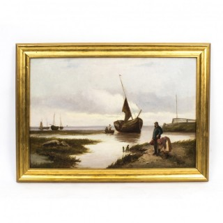Antique Oil Painting Scotish Seascape John Henry Boel 1902