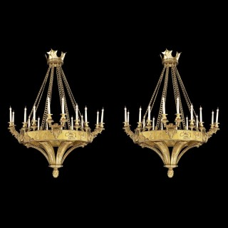 Pair of Gilt Bronze Chandelier in the Gothic Revival Manner
