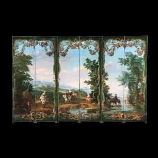 German 18th Century Six Panel Screen with Landscape Scene