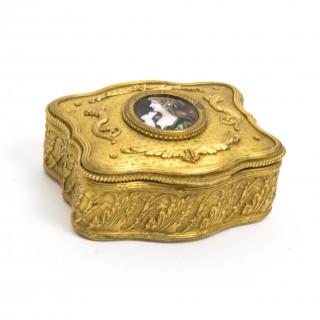 Antique Gilt Bronze Jewellery Casket & Limoges Miniature c.1870