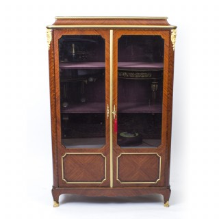 Antique French Ormolu Mounted Kingwood Display Cabinet c.1850