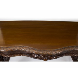Antique Victorian Serpentine Carved Serving console table 1870