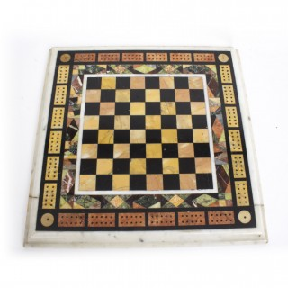 Antique Chess & Cribbage Specimen Marble Table Top C1880