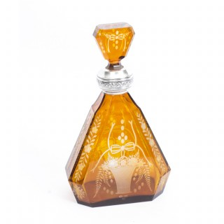 Antique Bohemian Amber Silver Mounted Decanter c.1890