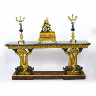 Antique Entwined Gilded Dolphins Console Pier Table c.1920