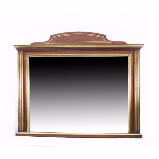 Antique Mahogany Brass Inlaid Over Mantle Mirror c.1900 - 83 x 97 cm