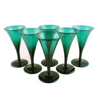 6 Georgian Green Glasses
