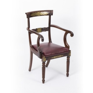 Antique Regency Brass Marquetry Elbow chair armchair C1815