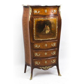 Antique French Vernis Martin & Parquetry Secretaire C1880