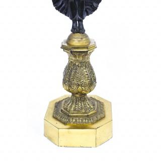 Antique Pair Large Empire Ormolu Bronze Candelabra C1860