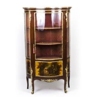 Antique French Vernis Martin Mahogany Display Cabinet c.1880