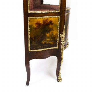 Antique French Vernis Martin Mahogany Display Cabinet c.1880