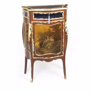 Antique French Vernis Martin Serpentine Bijouterie Side Cabinet C1880