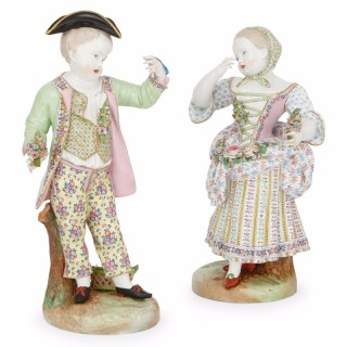 Large antique pair of Meissen style porcelain figures in the Rococo style
