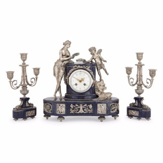 Three piece lapis lazuli and silvered bronze antique French clock set