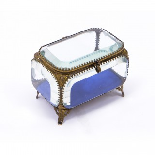 Antique French Ormolu & Glass Table Wedding Casket c1880
