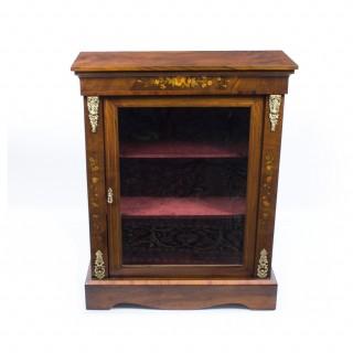 Antique Victorian Burr Walnut Marquetry Pier Cabinet c.1870