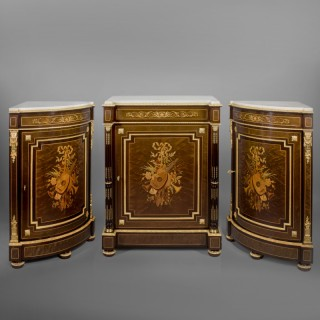 A Fine Louis XVI Style Marquetry Inlaid Side Cabinet and Encoignures En Suite