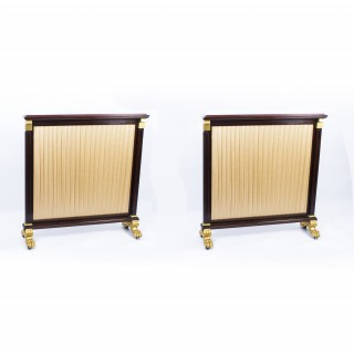 Antique Pair William IV Mahogany & Gilded Screens c.1835