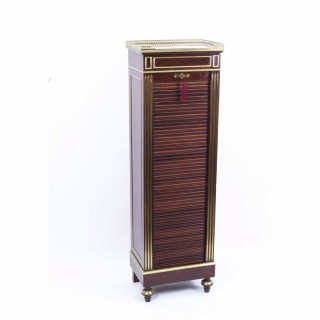 Antique French Brass Inlaid Tambour Front Cabinet c.1880