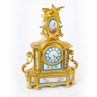 Antique French Ormolu Sevres Porcelain Mantel Clock c.1860