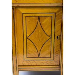 Antique Late Victorian Satinwood Display Cabinet c.1890
