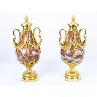 Antique Pair Louis XV French Rouge Marble Urns c.1860