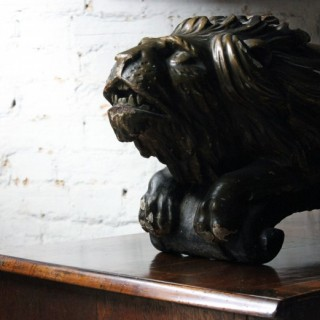 A Quite Magnificent Early 19thC Carved Wood, Gesso & Parcel Gilt Heraldic Lion; Formerly of The Cooper Penrose Estate, County Cork, Ireland c.1800