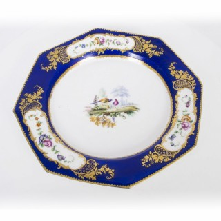 Antique Sevres Porcelain Cobalt Blue Porcelain Plate c.1880