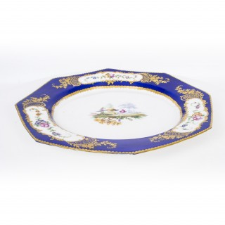Antique Sevres Porcelain Cobalt Blue Porcelain Plate c.1880