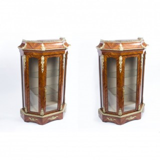 Antique Pair Victorian Tulipwood Vitrines Cabinets c.1870