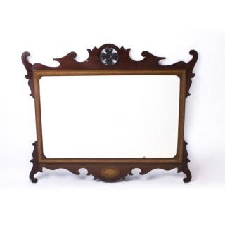 Antique Edwardian Mahogany Inlaid Marquetry Mirror c.1900 - 93 x 113 cm