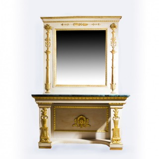 Antique Roman Console Table with Mirror & Marble Top 248 x 168 cm