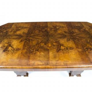 Antique Art Deco Dining Table Burr Walnut c.1930