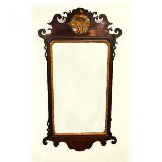 Antique George III Mahogany Parcel Gilt Wall Mirror 94 x 51 cm