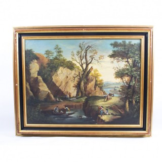 Antique Painting Rocky Landscape XVIII Century