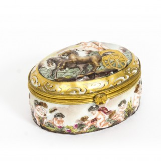 Antique Italian Capodimonte Porcelain Pill Box C1890