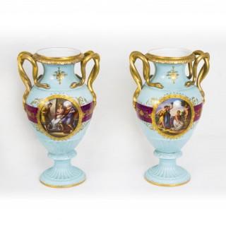 Antique Pair Vienna Porcelain Bleu Celeste Twin Handled Vases C1880