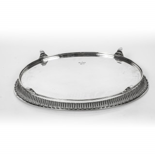 Antique Victorian Oval Silver Plated Tray by Elkington C1880