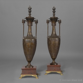 A Fine Pair of Classical Revival Patinated Bronze Vases, Designed by Henry Cahieux