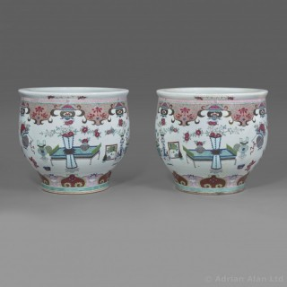 A Pair of Chinese-Style Famille Rose Porcelain Fish Bowls