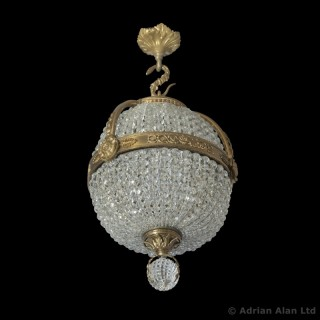 An Empire Revival Gilt-Bronze and Cut-Glass Pendant Chandelier