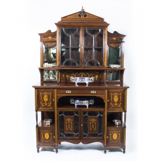 Antique Edwardian Rosewood Inlaid Cabinet c.1890