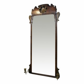George II Walnut Mirror with Brass Sconces