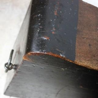 A Scarce Black Painted English Oak Shipwright's Caulking Tool Box c.1880